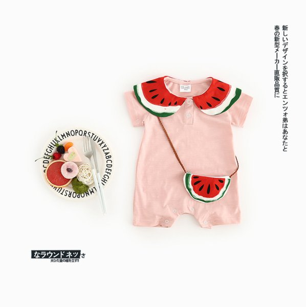 2019 new summer baby girls watermelon romper INS cute short sleeve cotton jumpsuit with watermelon bags fashion infant onesie C5290