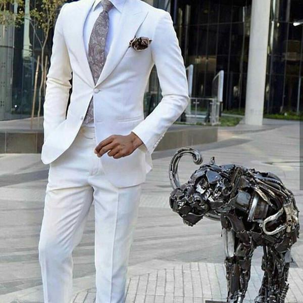 Ivory Man Attire Groom Tuxedos Mens Wedding Suits Peaked Designs Groomsmen Blazer 2Piece Costume Homme Mariage Evening Party Terno Masculino