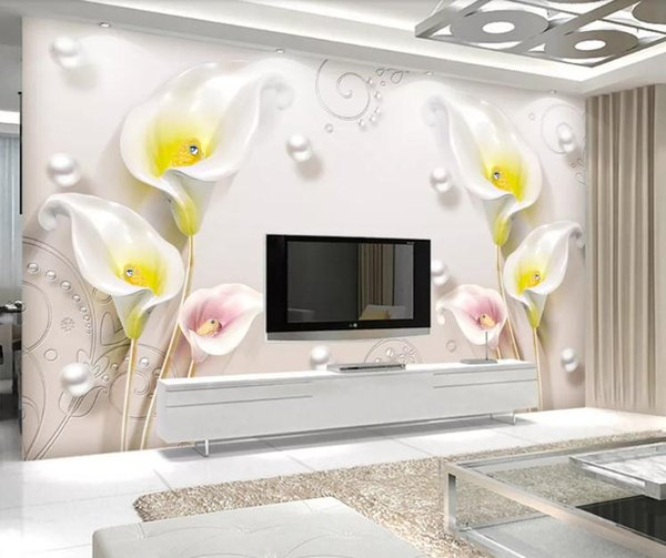 Custom Photo Wallpaper Murals 3D StereoscopicCalla background wall Living Room TV Background Wall Papers Home Decor