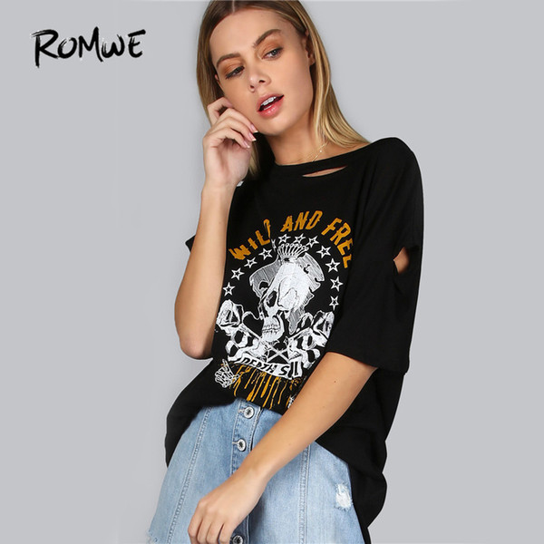 Romwe Distressed Skull Print Punk Style Tee Women Sexy Cut Out Casual Tops Summer New O Neck Graphic Cotton T-shirt Q190524