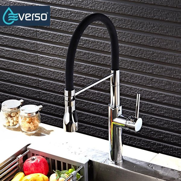 EVERSO Kitchen Faucet Put Out Brass Sink Mixer Tap Kitchen Tap Spray Head Deck Mounted 360 Swivel Torneira De Cozinha