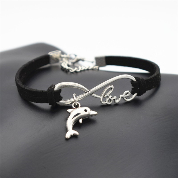 Bohemian Single Layers Charm Black Leather Rope Bracelets & Bangles for Women Men Vintage Silver Infinity Love Animal Lovely Dolphin Jewelry