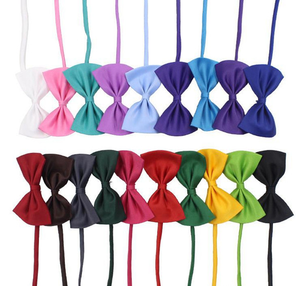 19 colors Pet tie Dog tie collar flower accessories decoration Supplies Pure color bowknot Bow necktie By DHL