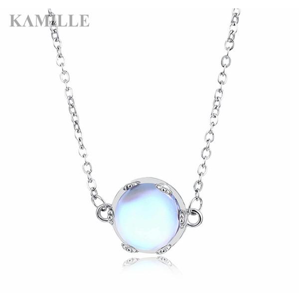 Kamille Aurora Kolye Kolye Halo Kristal Taş S925 Gümüş Ay Işık Kolye Kadınlar için Zarif moda Kızlar Takı