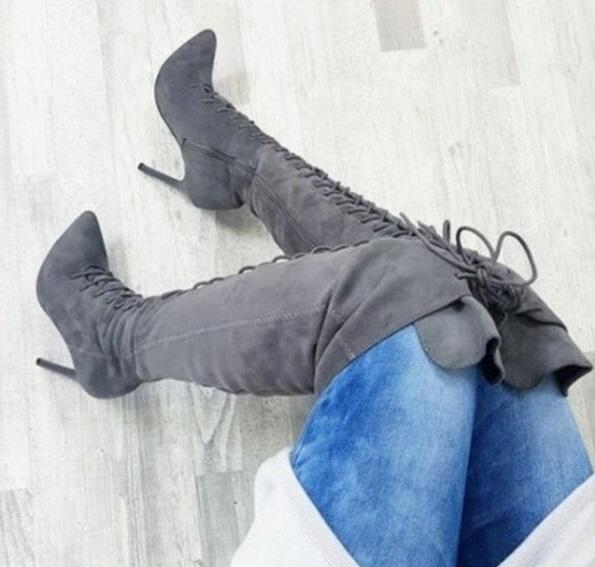 Drop Shipping Winter Fashion Woman Solid Burgundy Gray Black Khaki Pointed Toe Stiletto Heels Over The Knee Lace Up Thigh Boots