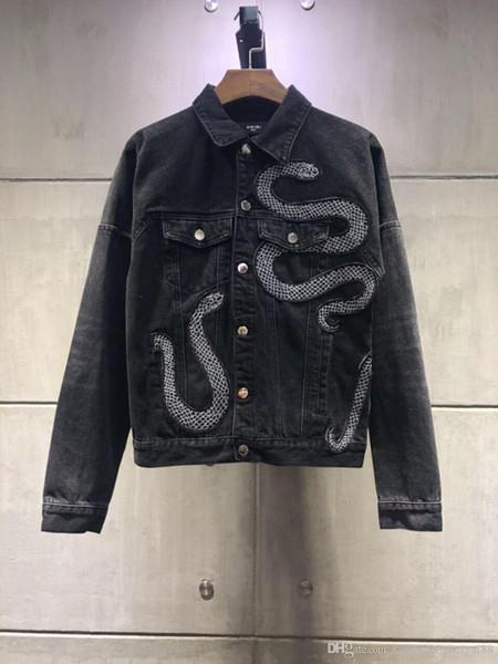 19 years of designer fashion men's motorcycle jacket lapel collar Slim casual men's denim jacket blue shirt men's jacket brand