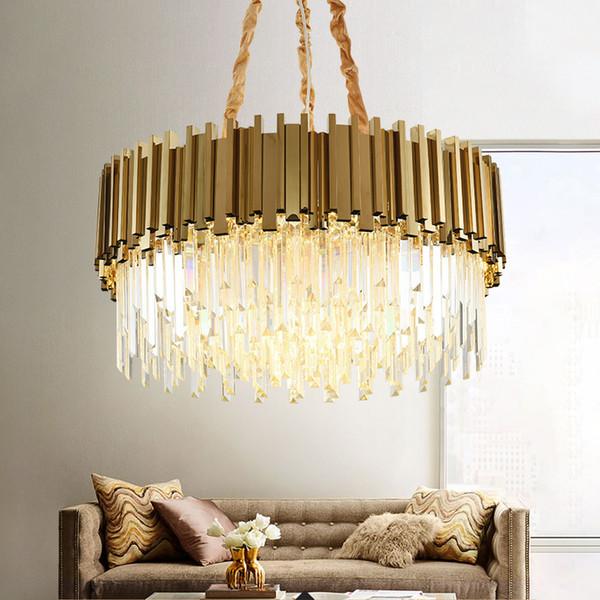 Lámpara de araña de cristal moderna para sala de estar Lámparas de cadena de cadena de acero inoxidable de oro redondo de lujo Iluminación 110-240V