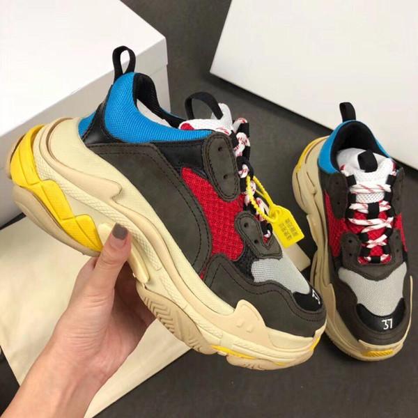 Yeni 2019 Erkekler Womens Ile Gri Deri Örgü Patchwork Platformu Sneakers, Marka Tasarımcı Severler Baba Nedensel Spor Ayakkabı 35-45 ...