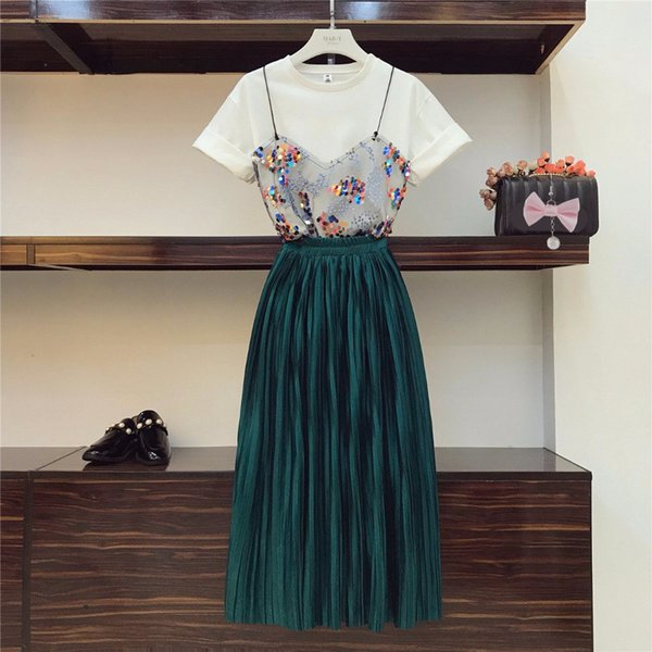 In Stock 2019 Trendy Summer Women Patchwork Mesh T-shirt + Beautiful Pleated Skirt 2 Pcs Sets Y19042901