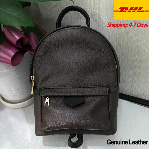 best selling DHL Fast Top Grade Cute Lady Fashion Knapsack Classics Palm Springs Backpack Mini genuine leather children Girls women leather luxe designer