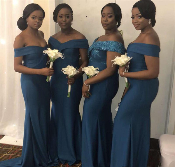 African Black Girls Bridesmaid Dresses Mermaid Long Summer Country Garden Formal Wedding Party Guest Maid of Honor Gowns Plus Size