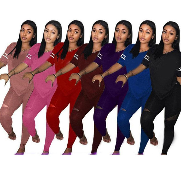 Mulheres carta Treino Camiseta Tops Calças Calças 2PCS Set Outfit Casual Suit T-shirts Sportswear Roupa