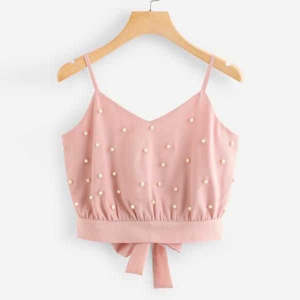 Chaleco de mujer Camisas sin mangas de gasa Camisola Perla sólida Rebordear Camis Moda 2019 chaleco de las señoras