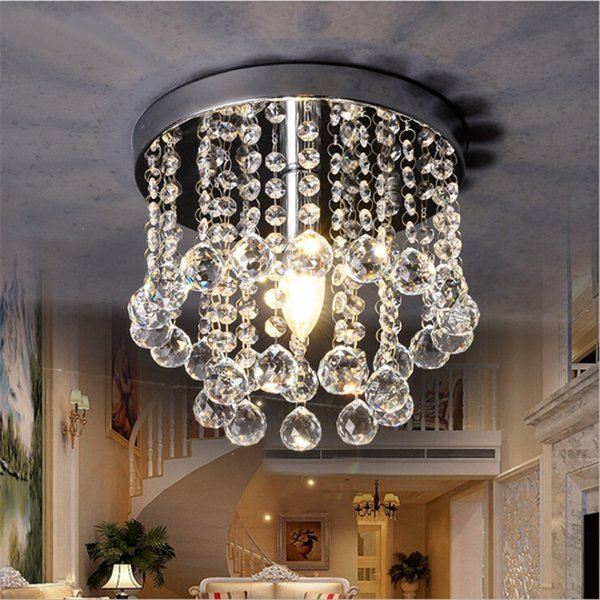 15cm 20cm 25cm Crystal Chandelier Mini Ceiling Light Fixture Small Clear Crystal Lustre Lamp for Aisle Stair Hallway corridor porch light