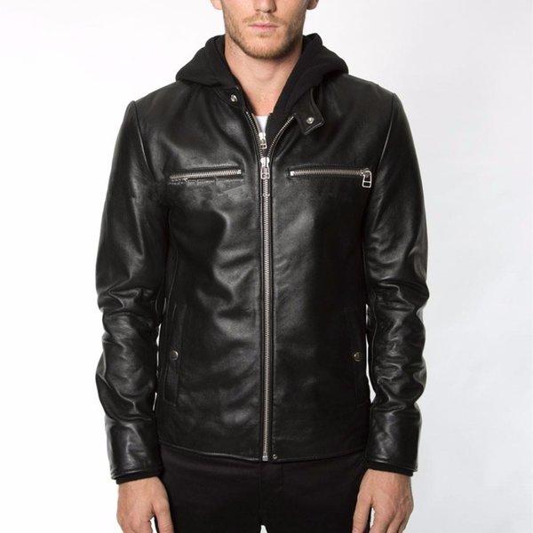 cappuccio moda cappello giacca in vera pelle staccabili in pelle cappotto casuale degli uomini degli uomini neri di pelle di pecora reale maschio giacca 2017