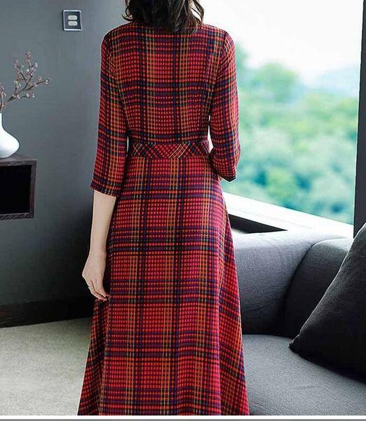 En ucuz bahar yeni kadın standı yaka tek göğüslü ince ekose uzun Bir kelime etek elbise