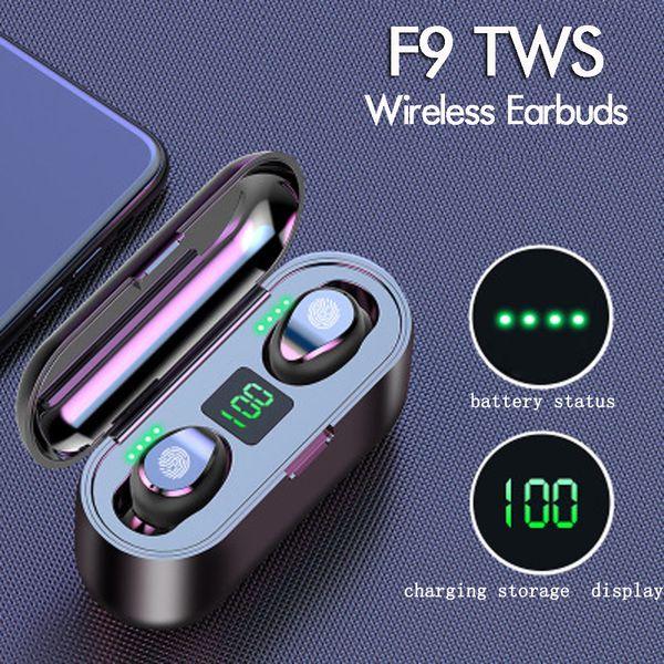 New F9 TWS sem fio fone de ouvido Bluetooth V5.0 Earbuds BT5.0 Headphone Display LED Com 2000mAh Power Bank carregador fone de ouvido com microfone
