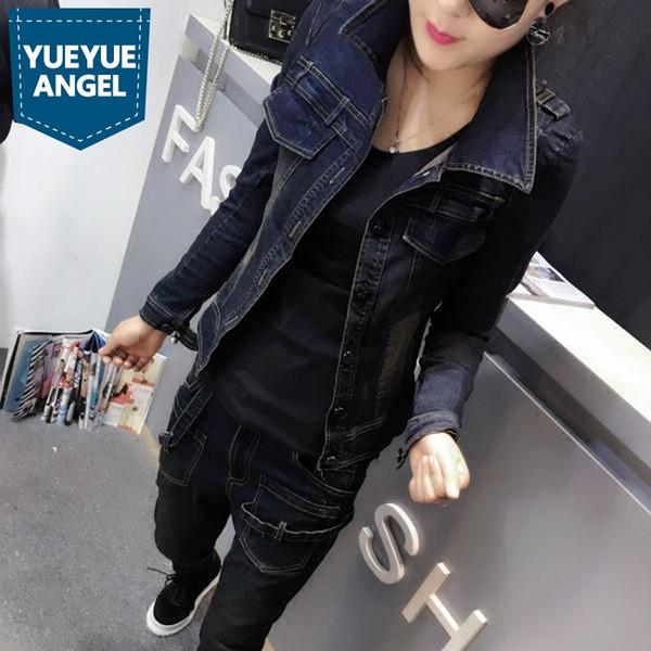 Корейский весна осень новых женщин Slim Fit джинсовых курток Личность Повседневный длинным рукавом однобортный нагрудные Женщины Outwear пальто