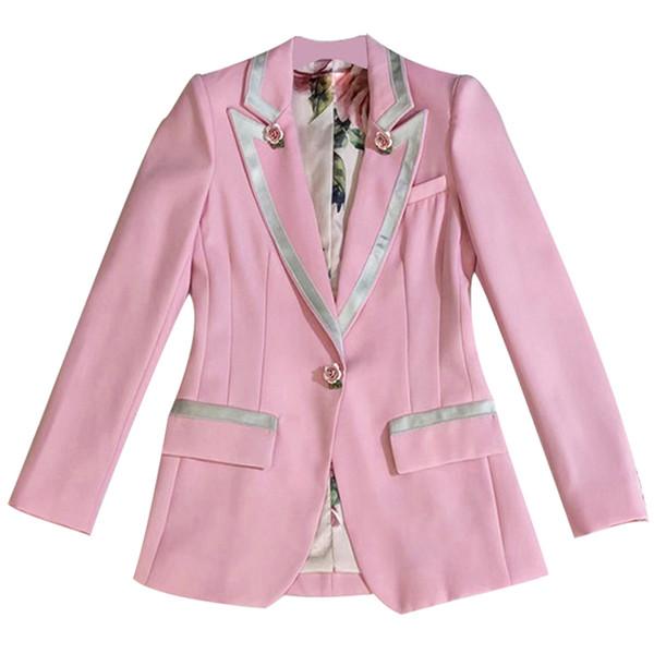 DEAT 2019 Pink Runway Mujeres Botón Único Estampado floral Cuello de cobertura Manga larga Ropa interior Abrigo Otoño Chaqueta MF963