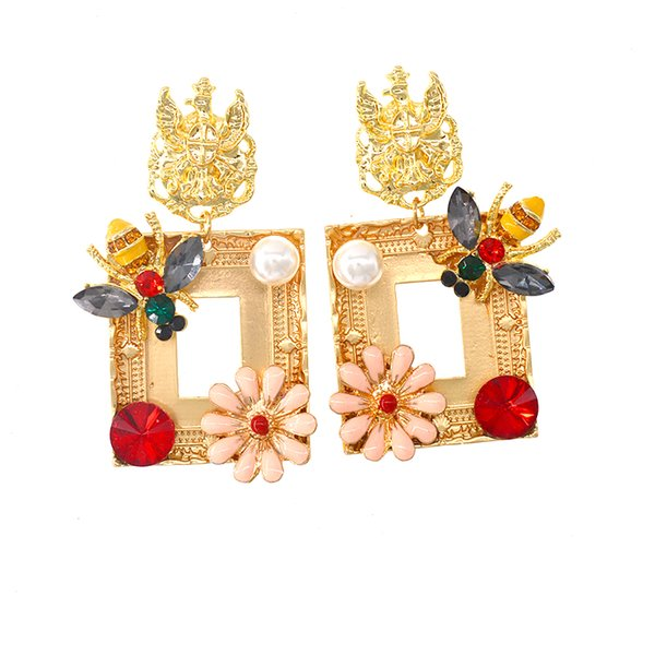 2019 Design Gold Color Luxury Geometric Square Dangle Earrings for Women Wedding Party Statement Drop Earings Baroque Style Ear