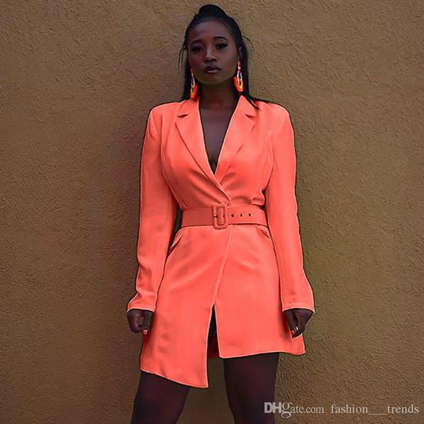 Elegante Cintura Sashes mini ufficio vestito delle donne casuale Blazer abito Autunno Inverno 2019 Slim donna Suit Abiti Solid Streetwear Party Dress