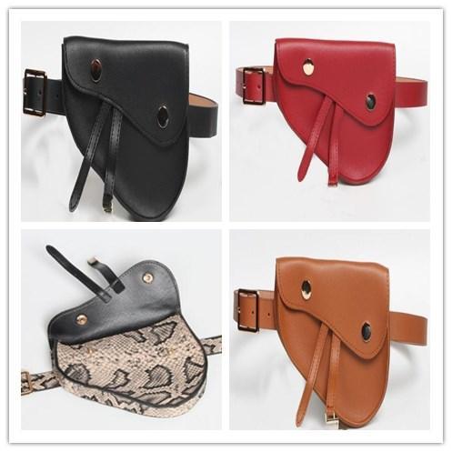INS 유명 디자이너 패션 여성 명품 가방 2019 새로운 뱀 패턴 전술 숙녀 벨트 펜던트 안장 가방 얇은 벨트 지갑 오토바이 가방