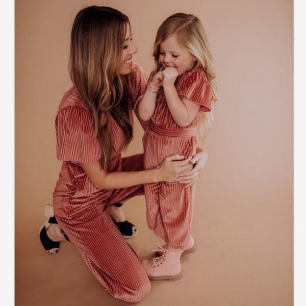 Tute a tinta unita Famiglia abbinata Tute per figlie per mamma Mommy And Me Tute Set Set per tutine per mamma