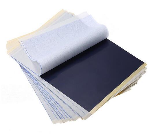 50 Adet / grup 4 Katmanlı Karbon Termal Stencil Dövme Transferi Kağıt Kopya Kağıdı Izleme Kağıt Profesyonel Dövme Kaynağı Aksesuarları