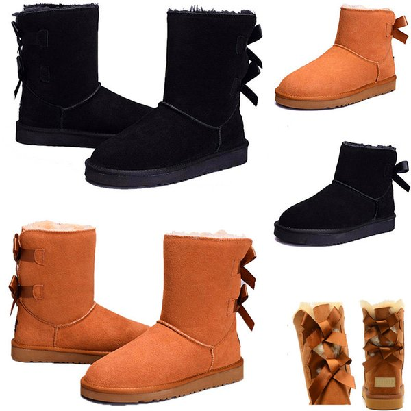 Designer Women Winter Snow Boots Fashion Australia Classic Half Short bow boots Ankle Knee Bowknot girl lady Boot 2019 Wholesale free ship
