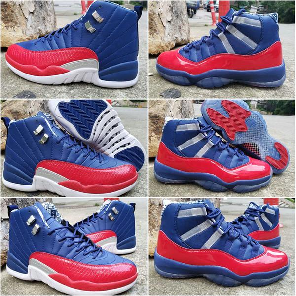 Yeni Jumpman jordan retro 11 12 Erkek Retro Basketbol Ayakkabı Lacivert Spor Kırmızı Eğitmenler Spor Sneakers 11 s 12 s Tasarımcı Atletik sneakers Boyutu US7-13