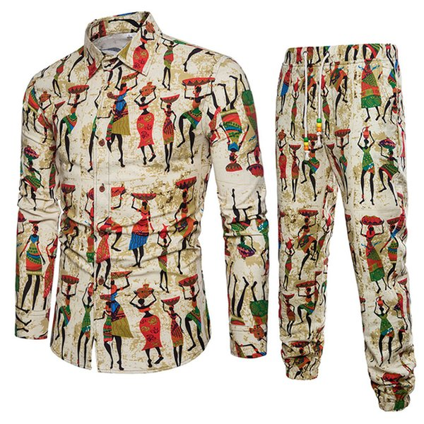 Spring Summer New Style Fashion Floral Print Men's Set Shirt With Pant Casual Shirts Suits Cotton Linen Track Suit Plus Size