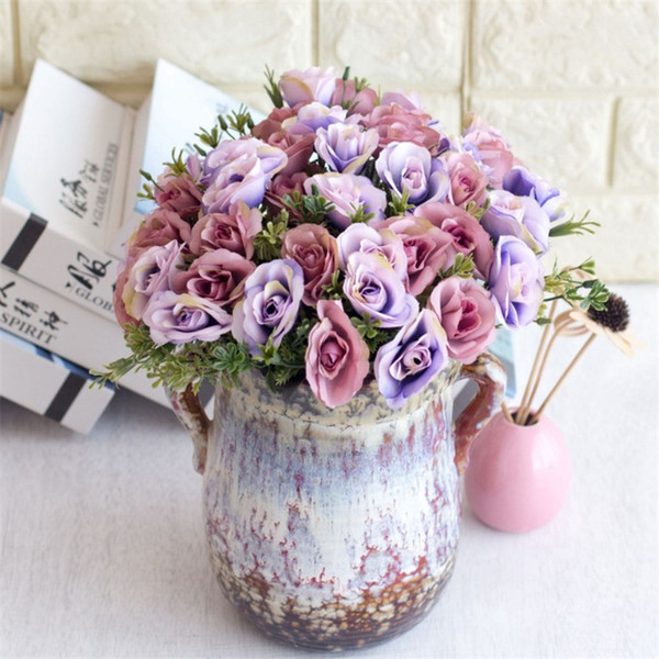 Faux bouquet de roses (5 tiges / pièce) Roses de simulation avec accessoires en plastique pour fleurs artificielles décoratives