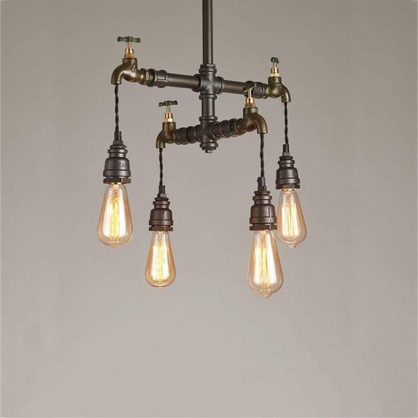 Loft Vintage Pendant Lights Water Pipe Chandeliers Edison Retro Steampunk Metal Interior Lighting for Restaurant Coffee Room Bar