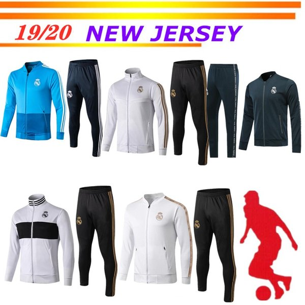 2019 2020 survêtement de football avec veste de football du Real Madrid 19 20 Real Madrid HAZARD MODRIC maillots de BALE veste de sport ensemble de sport
