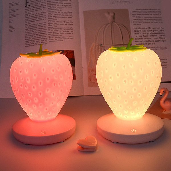 Strawberry Night Lights Fruit Touch Silicone Table Lamps USB Charging Romantic Pineapple Mango Ambiance with Sleeping Lights
