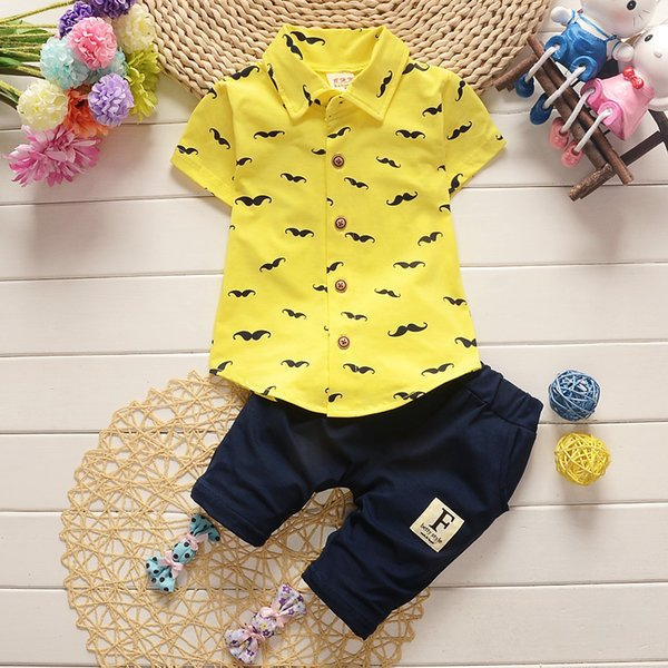 good quality 2019 Summer Baby Boys Clothes sets Gentleman Kids Lovely Beard Shirt+Pants 2 Pcs Casual Suits Children Sets