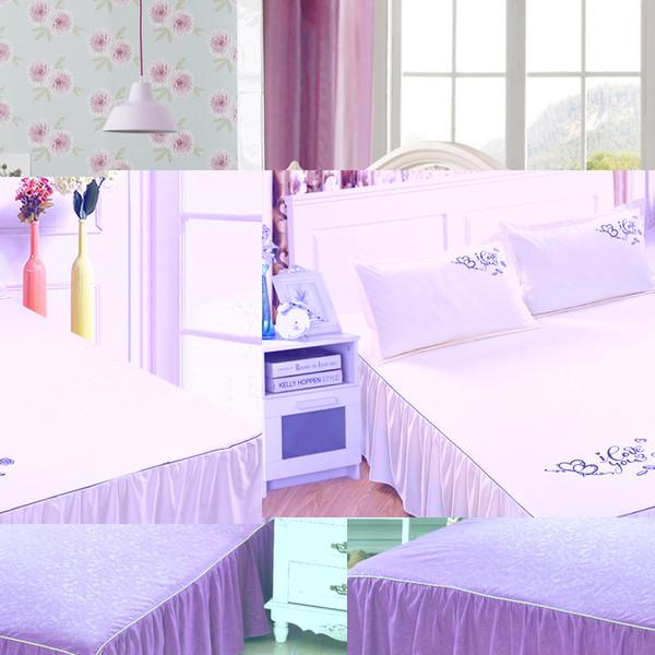 Mordern Brief Solid Color Bed Skirt Sanding Bedspread 150x200cm Bed Cover