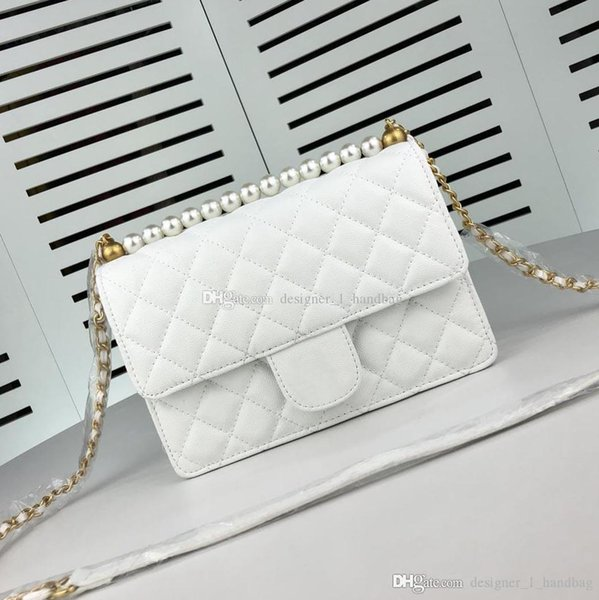 Tasarımcı lüks Messenger çanta yüksek kalite klasik genuinne deri çanta 2019 yeni inci aksesuarları zincir çanta