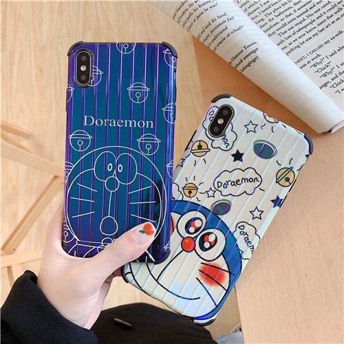 Custodie rigide per telefoni cellulari Doraemon per IphoneX XS Max Custodia rigida per cellulari XR 6/7/8 Plus IMD Blu Resistenti allo sporco