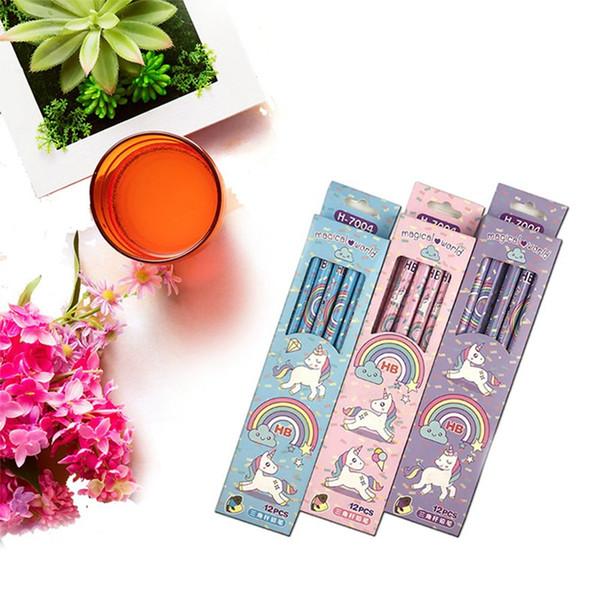 12pcs/set Cute Rainbow Unicorn Plastic Pencil Automatic Pen With Eraser For Kid School Office Supply
