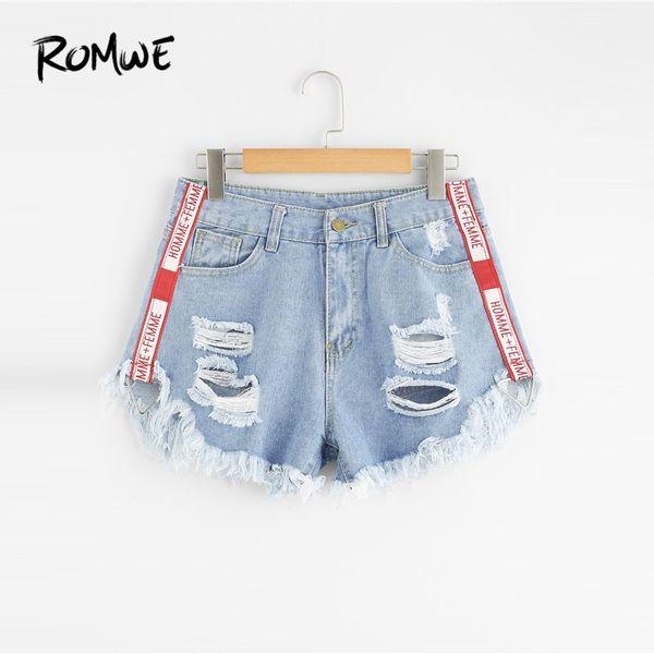 Romwe 2019 New Design Frayed Hem Ripped Denim Blue Button Fly Mid Waist Summer Women Shorts C19040901