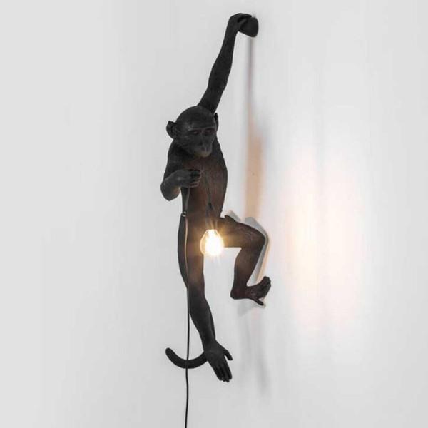 Lampara изворотливый простое искусство Nordic LED E27 черный белый смолы обезьяна настенные светильники спальня Led животных смолы настенный светильник Черная обезьяна бра