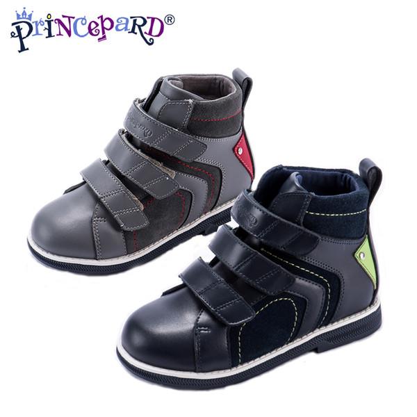 Großhandel Princepard 2018 Herbst Neue Beiläufige Orthopädische Schuhe Für Jungen Graue Marine Echtleder Kinder Orthopädische Schuhe Für Kinder 21 37T