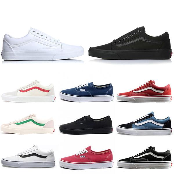 Acheter Vans Old Skool Sneakers Brand Vans Vieux Skool Peur De Dieu Hommes Femmes Toile Baskets Classique Noir Blanc YACHT CLUB Rouge Bleu Mode Skate