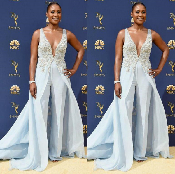 New Light Blue Jumpsuits Evening Dresses Beaded Deep V Neck Overskirts Formal Prom Gowns Cheap Chiffon Beach Runway Celebrity Dress Pants