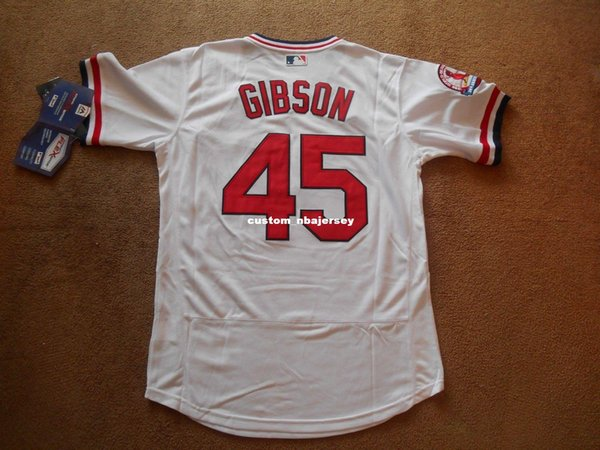 Cheap custom Bob Gibson #45 White P/O Baseball Jersey Stitched Customize any name number MEN WOMEN YOUTH Jerseys