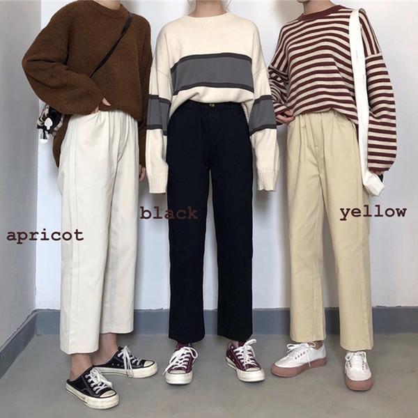 3 colori Mihoshop Ulzzang coreano Corea moda donna abbigliamento estate a vita alta dritto pantaloni gamba larga dritta