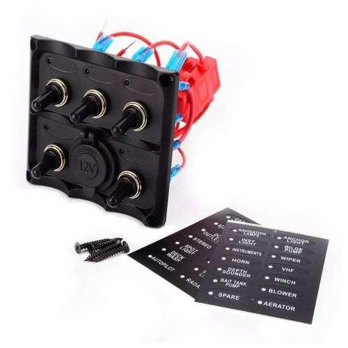 12-24V 5 명 블루 LED 자동차 보트 토글 스위치 퓨즈 패널 전원 소켓