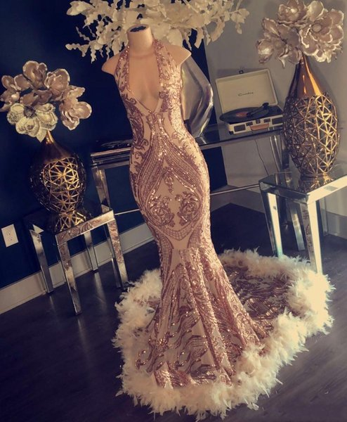 New Gold Mermaid Prom Dresses Sexy Deep V Neck Hater Sparkly Lace Feather Black Girl Special Occasion Dresses Plus Size Custom Made 2019