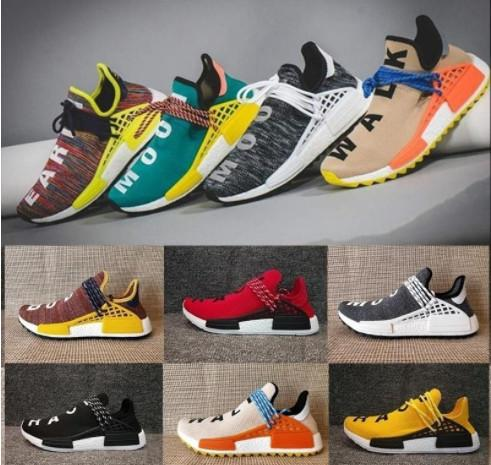 top popular With Box 2019 Human Race Hu trail Pharrell Williams Mens Shoes for men women Yellow Red Nerd Black Runner Sports Sneakers Designer 2019